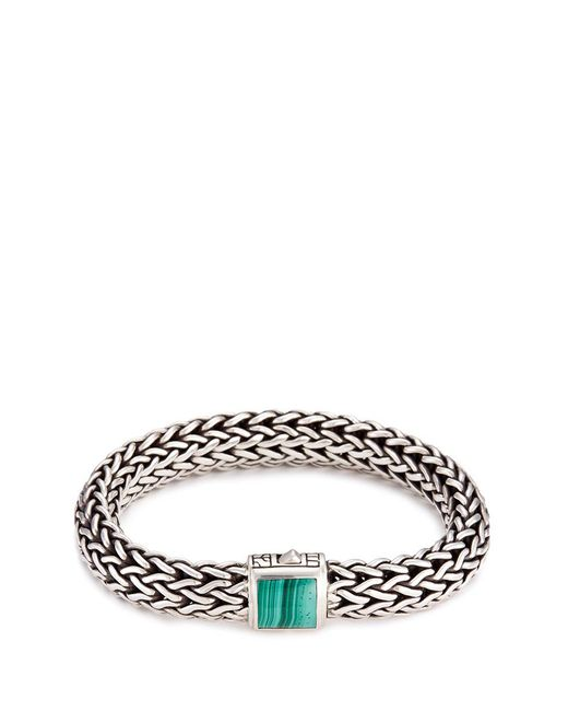 John Hardy | Metallic Malachite Silver Woven Chain Bracelet | Lyst