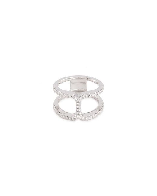 LC COLLECTION - Diamond 18k White Gold Cutout Ring - Lyst