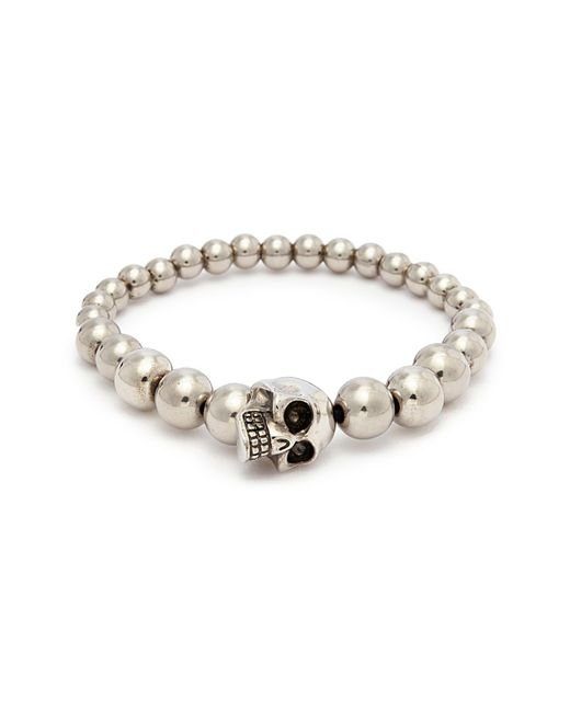 Alexander McQueen - Metallic Skull Charm Metal Ball Bracelet for Men - Lyst