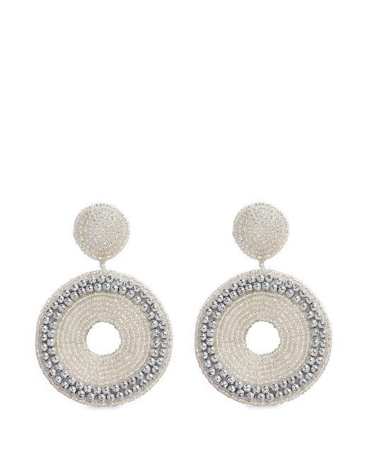 Kenneth Jay Lane | White Beaded Cutout Circle Drop Earrings | Lyst