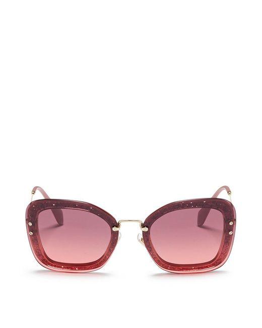 Miu Miu - Pink Metal Temple Mounted Lens Glitter Acetate Square Sunglasses - Lyst