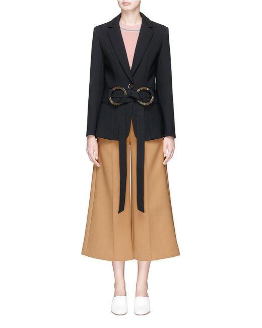 Helen Lee | Black O-ring Belt Cady Crepe Suiting Jacket | Lyst