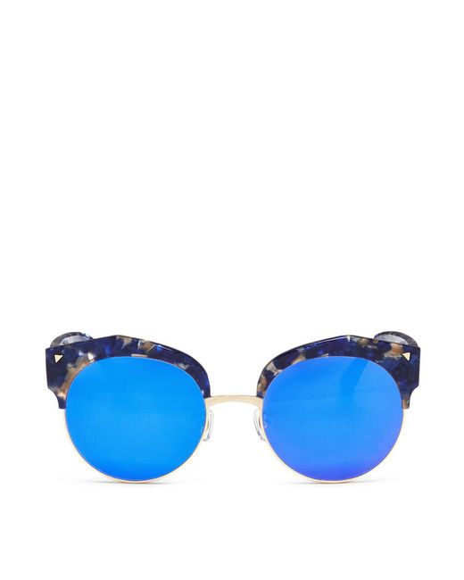 Stephane + Christian | Blue 'flashback' Acetate Browline Mirror Sunglasses | Lyst