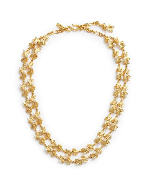 Kenneth Jay Lane - Metallic Glass Pearl Floral Tiered Necklace - Lyst