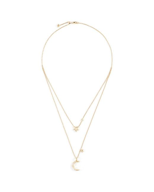 LC COLLECTION   Metallic 'lucky Charm' Diamond 18k Yellow Gold Tiered Star And Moon Necklace   Lyst