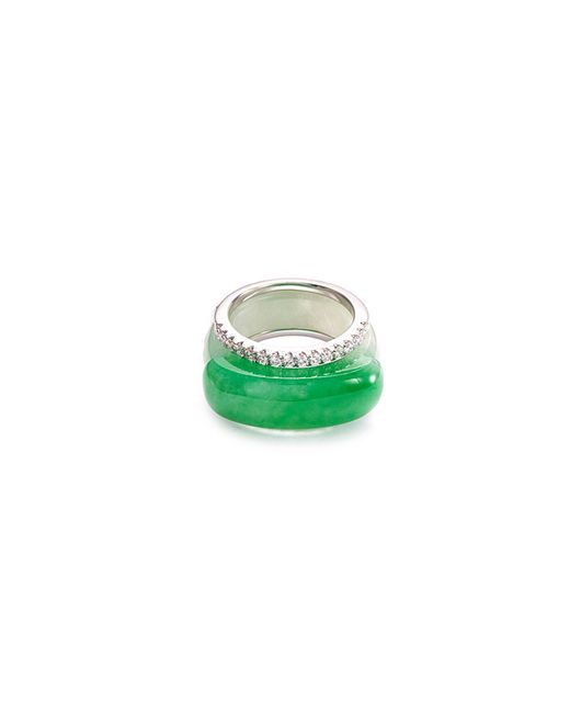 LC COLLECTION - Metallic Diamond Jade 18k White Gold Stackable Ring - Lyst