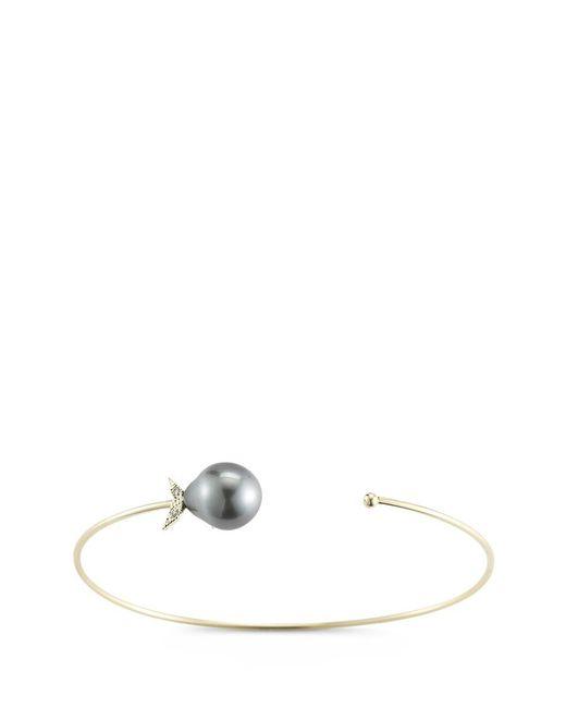 Mizuki   Black 'sea Of Beauty' Diamond Tahitian Pearl 14k Gold Wire Petal Cuff   Lyst