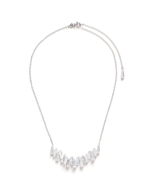 CZ by Kenneth Jay Lane | White Baguette Cluster Bar Cubic Zirconia Pendant Necklace | Lyst