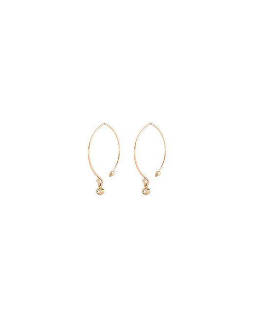 Mizuki - Metallic Small Diamond 14k Gold Marquise Hoop Earrings - Lyst