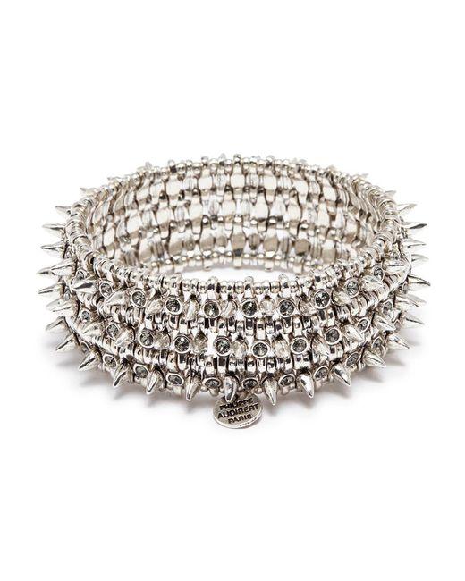 Philippe Audibert - Metallic 'amelia Aby' Stud Swarovski Crystal Three Row Elastic Bracelet - Lyst