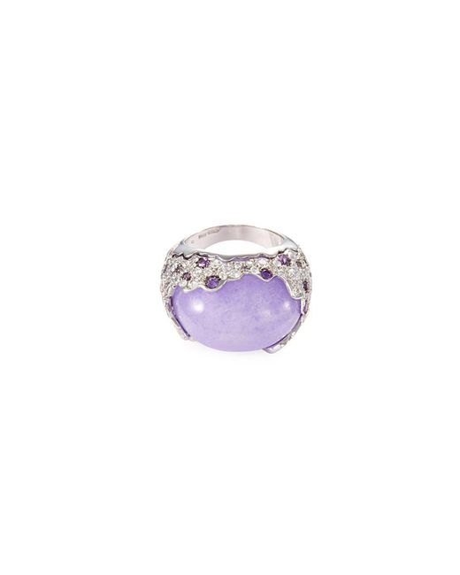 Roberto Coin - Purple Diamond Jade 18k White Gold Ring - Lyst