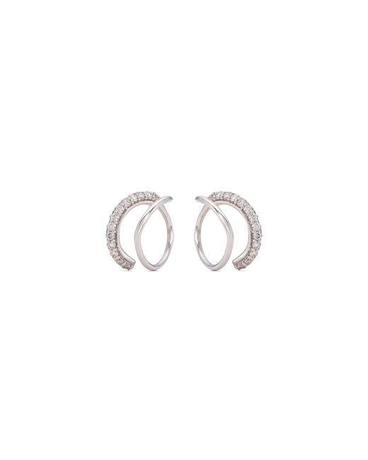 Lynn Ban - Metallic Diamond Silver Coil Hoop Earrings - Lyst
