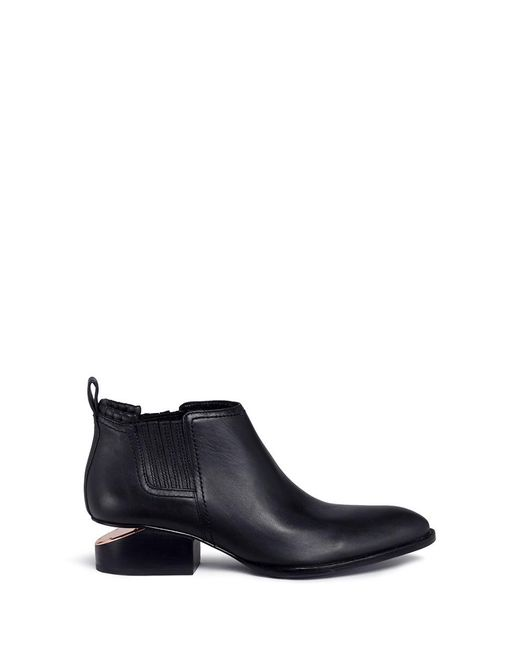 Alexander Wang   Black 'kori' Cutout Heel Leather Chelsea Boots   Lyst