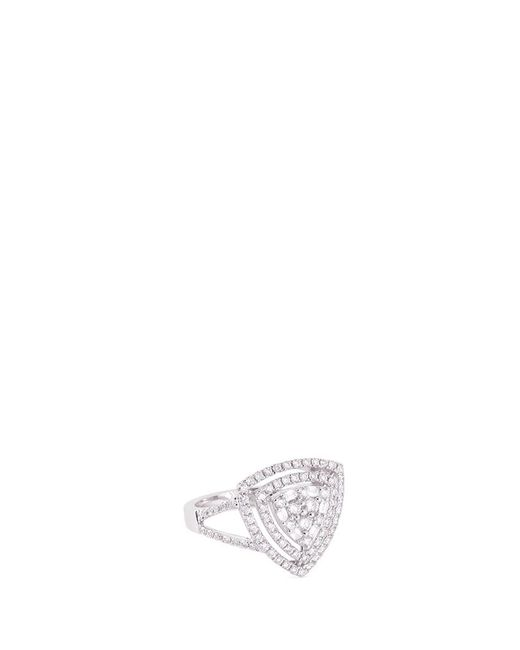 LC COLLECTION | Metallic Diamond 18k Gold Triangle Cutout Ring | Lyst