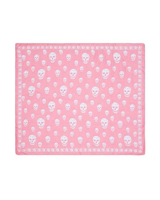 Alexander McQueen - Pink Classic Skull Silk Chiffon Scarf - Lyst