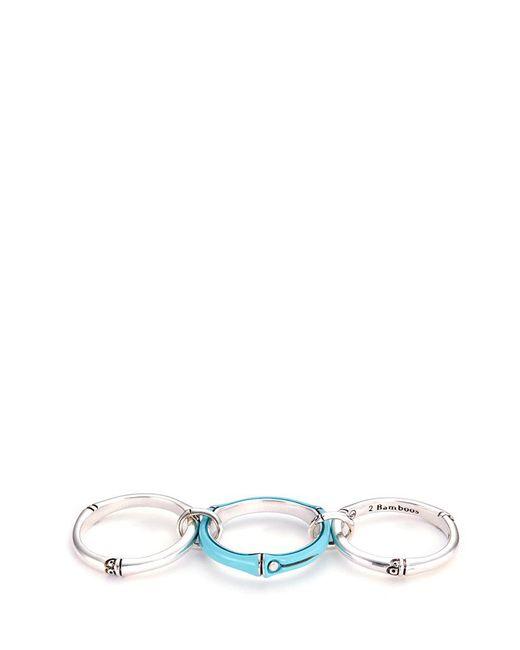 John Hardy   Metallic Diamond Enamel Silver Linked Three Row Ring   Lyst