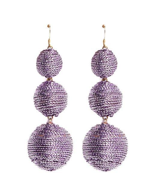Kenneth Jay Lane - Purple Graduating Threaded Sphere Drop Earrings - Lyst