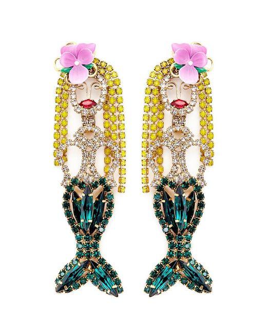 Elizabeth Cole | Multicolor 'mermaid' Swarovski Crystal Drop Earrings | Lyst