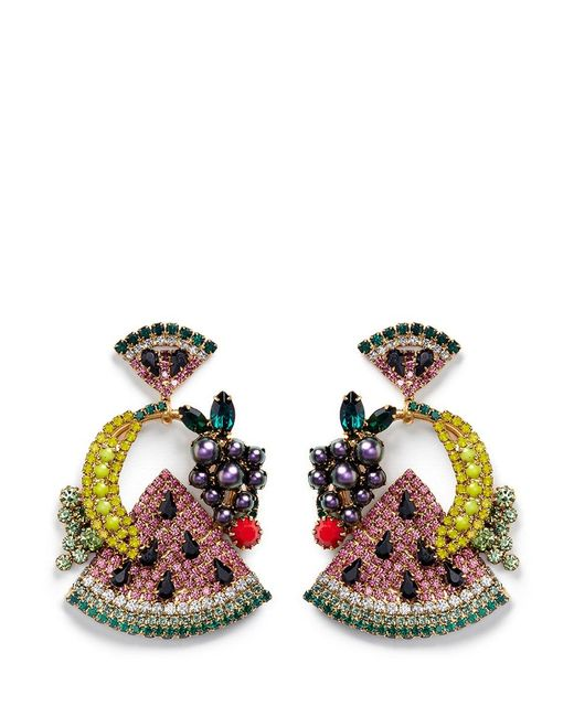 Elizabeth Cole | Multicolor 'fruit Salad' Swarovski Crystal Drop Earrings | Lyst