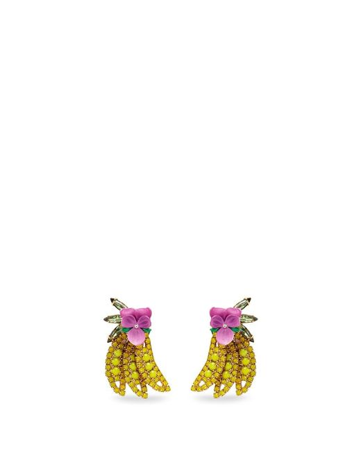 Elizabeth Cole | Multicolor 'banana' Swarovski Crystal Earrings | Lyst