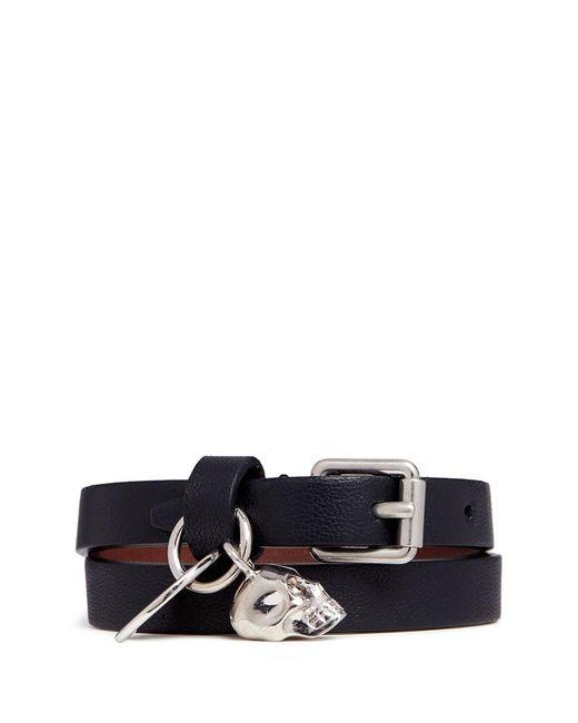 Alexander McQueen   Black Skull Charm Double Wrap Leather Bracelet   Lyst