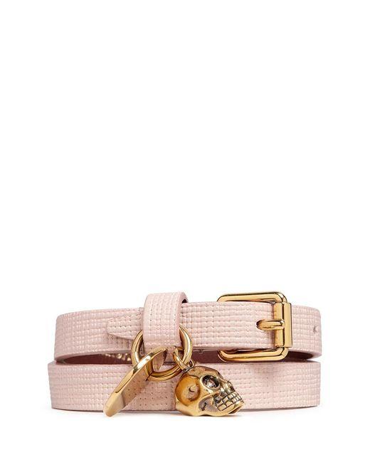 Alexander McQueen | Pink Skull Charm Double Wrap Leather Bracelet | Lyst