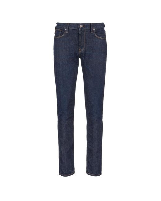 Armani | Blue Slim Fit Raw Jeans for Men | Lyst