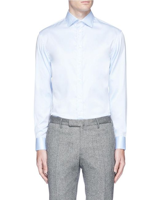 Armani 39 39 no iron 39 cotton twill shirt in blue for men lyst for No iron cotton shirts