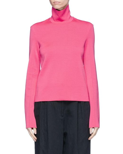 Mrz   Pink Convertible Collar Double Faced Knit Sweater   Lyst