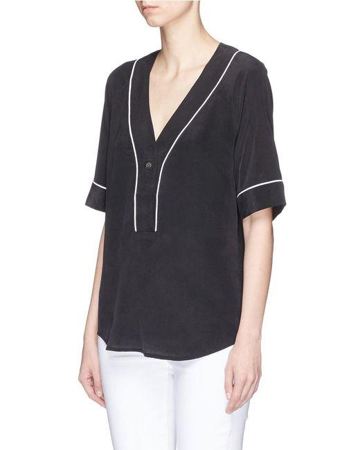 Equipment 39 atley 39 silk crepe baseball shirt in black lyst for Equipment black silk shirt