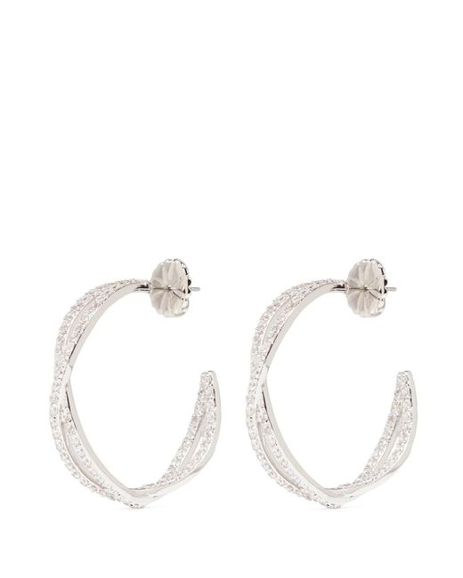 CZ by Kenneth Jay Lane | White 'eternity' Cubic Zirconia Twist Hoop Earrings | Lyst