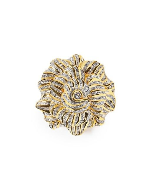 Kenneth Jay Lane | Metallic Glass Crystal Rose Brooch | Lyst
