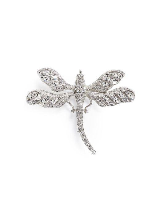 Kenneth Jay Lane | White Glass Crystal Dragonfly Brooch | Lyst
