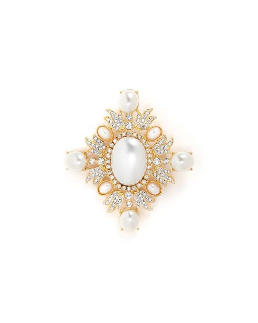Kenneth Jay Lane | Metallic Glass Crystal And Pearl Brooch | Lyst