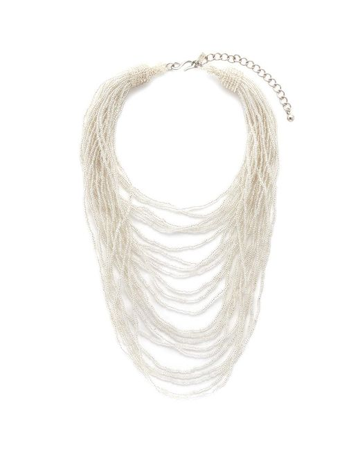 Kenneth Jay Lane | White Tiered Beaded Bib Necklace | Lyst