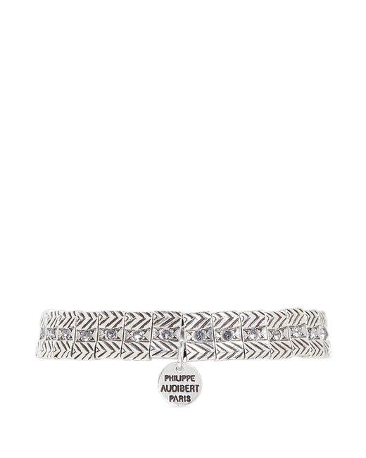 Philippe Audibert | Metallic 'betty' Swarovski Crystal Textured Plate Elastic Bracelet | Lyst