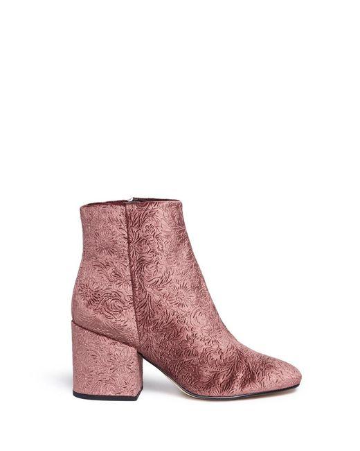 Sam Edelman | Pink 'taye' Floral Jacquard Velvet Ankle Boots | Lyst