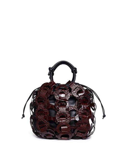 Trademark   Brown Interlocking Loop Small Croc Embossed Leather Drawstring Tote   Lyst