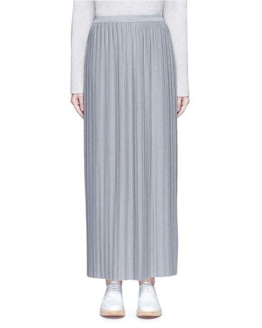 theory osnyo pliss 233 pleat maxi skirt in gray grey lyst
