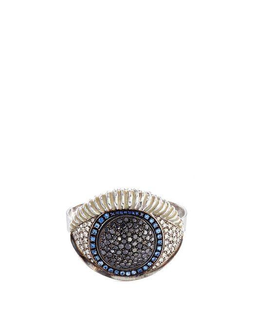 Delfina Delettrez | Metallic Diamond Silver Eye Two Finger Open Ring | Lyst
