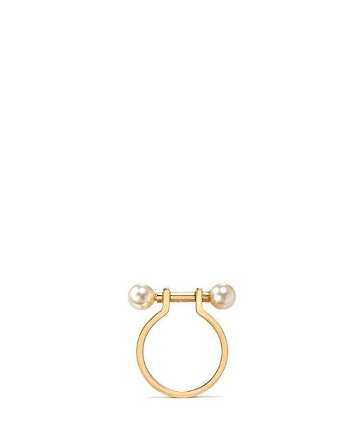 Chloé | Metallic 'darcey' Piercing Bar Swarovski Pearl Ring | Lyst