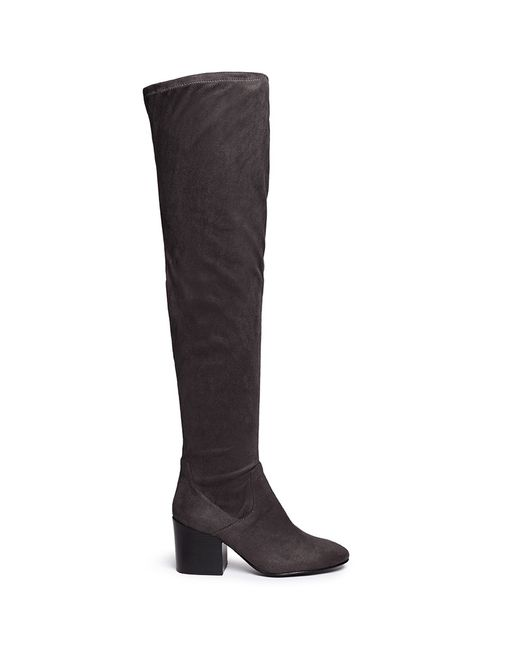 ash elisa stretch faux suede thigh high boots in grey lyst