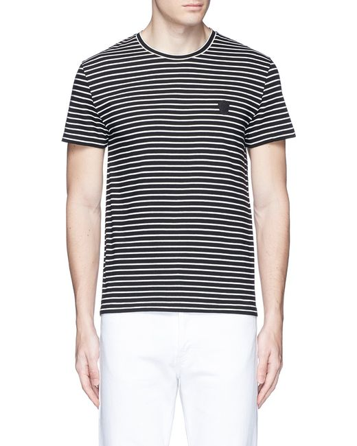 Alexander mcqueen skull embroidery stripe jersey t shirt