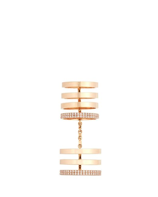 Repossi | Metallic 'berbère' Diamond 18k Rose Gold Seven Row Linked Ring | Lyst