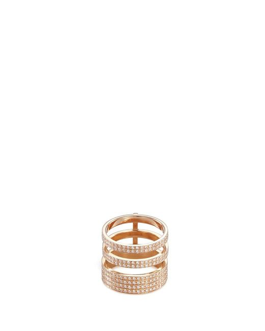 Repossi | Metallic 'berbère Module' Diamond 18k Rose Gold Three Row Ring | Lyst