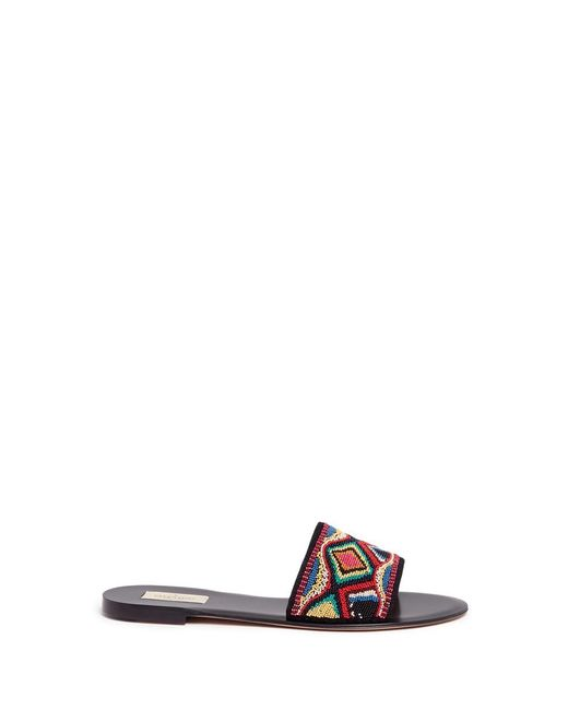 Valentino | Multicolor Native Couture Bead-embellished Leather Slides | Lyst