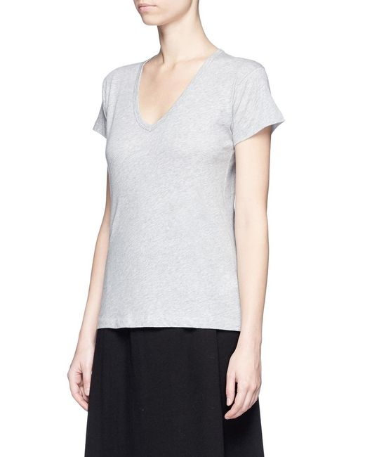 Vince relaxed fit pima cotton v neck t shirt in grey lyst Relaxed fit women s v neck t shirt