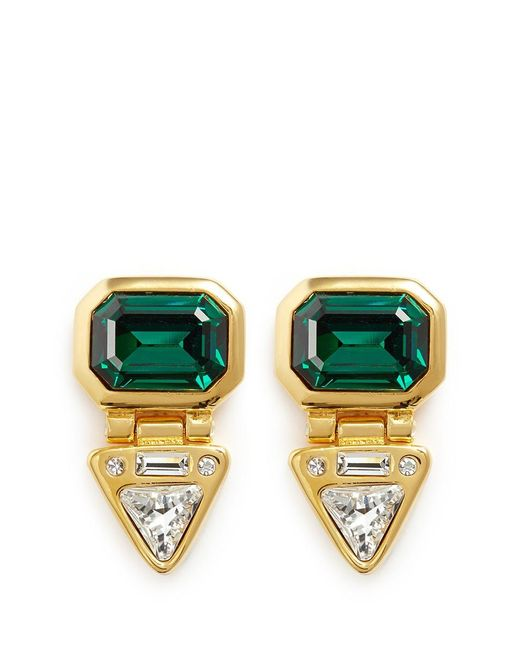 Kenneth Jay Lane | Green Glass Crystal Gold Plated Clip Earrings | Lyst
