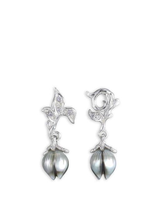 Heting | Metallic 'bellflower' Pearl Bud Diamond Amethyst 18k White Gold Earrings | Lyst