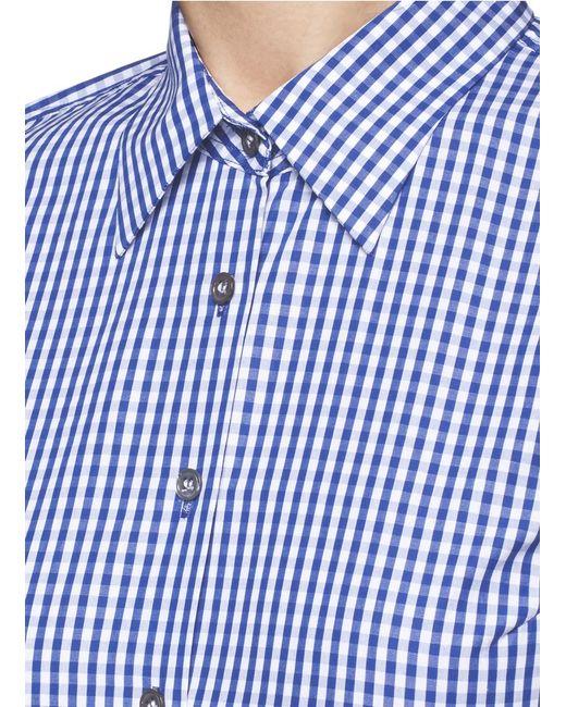 Jourden Gingham Check Asymmetric Tiered Shirt Dress In